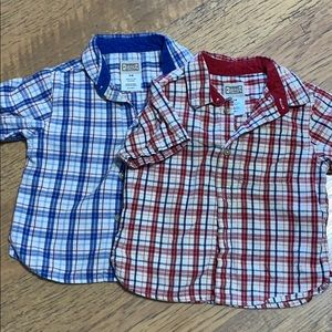 Two short sleeve button up shirts